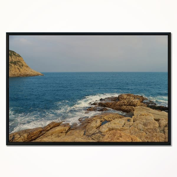 Designart Blurred Waters In Hong Kong Beach Extra Large Seashore Framed Canvas Art Overstock 22396556