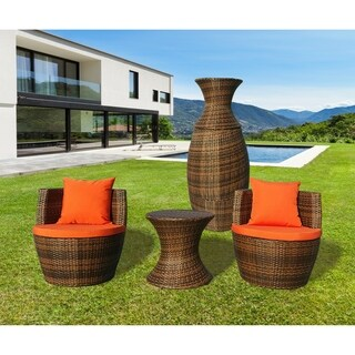 Milana Orange Resin Wicker 3 pc Patio Conversation Bistro Set