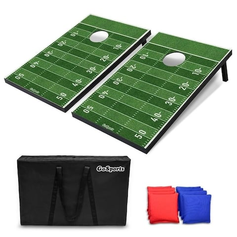 GoSports Football Cornhole Set Customize with Your Team's Decals Includes 2 Boards, 8 Bean Bags & Case - Green - 3' x 2'