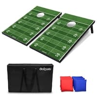 GoSports Football Cornhole Set | Customize with Your Team's Decals | Includes 2 Boards, 8 Bean Bags & Case - Green - 3' x 2'