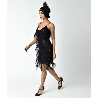 Unique Vintage Cecile Tiered Fringe Flapper Dress