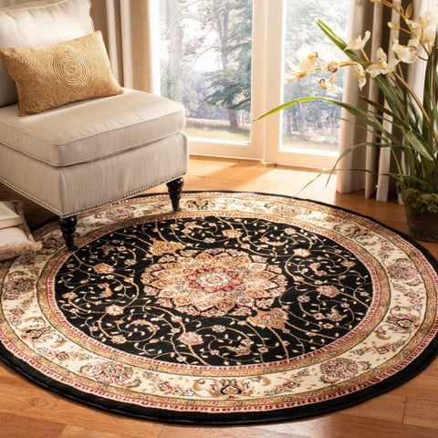 "Safavieh Lyndhurst Traditional Oriental Black/ Ivory Rug - 5'3"" x 5'3"" round"