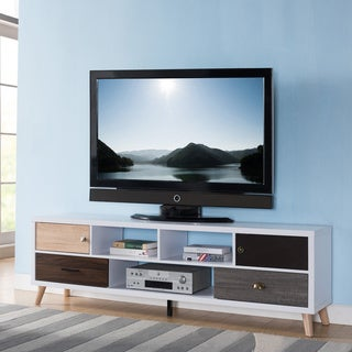 Furniture of America Kristen Mid-Century Modern Multicolored Storage TV Stand (2 options available)
