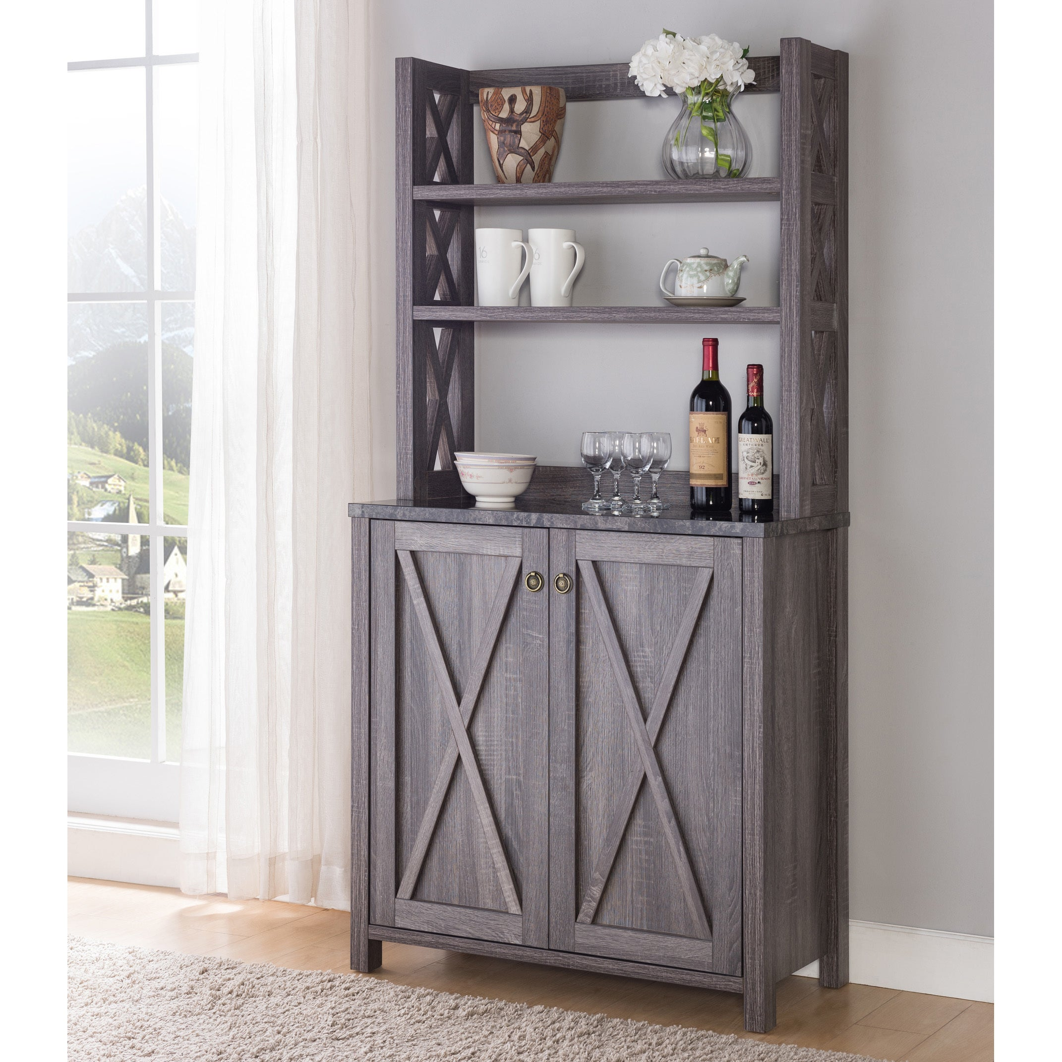 Grey Distressed Kitchen Cabinets: Furniture For Microwave