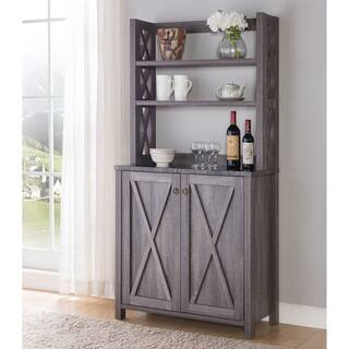 Furniture of America Cenna Rustic Distressed Grey Microwave Cabinet