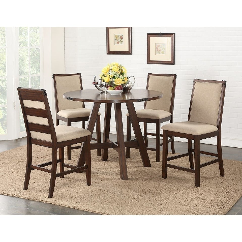 Rotterdam 5 Piece Formal Height Dining Set in Medium Brown Natural Wood Veneer and Cream Upholstered Cushions