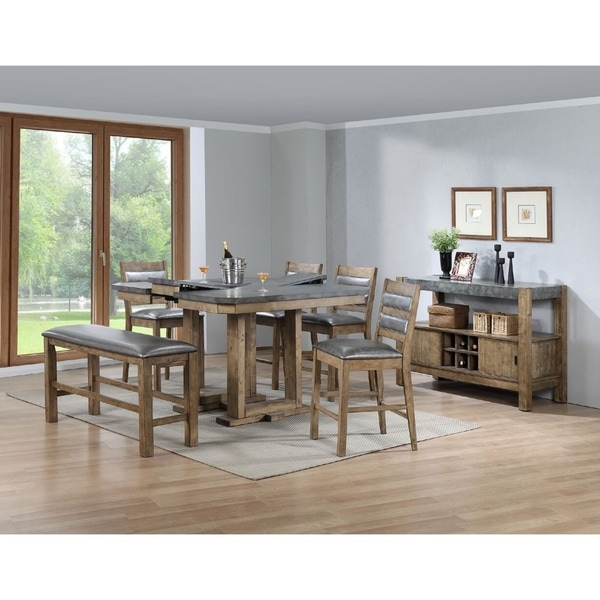 Amazon Linon Titian Rustic Gray Coffee Table Kitchen: Shop Bilbao 6 Piece Counter Height Dining Set With Rustic