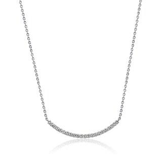 "Platinum-Plated Sterling Silver Swarovski Zirconia Curved Pendant Necklace, 16"" + 2"" Extender"