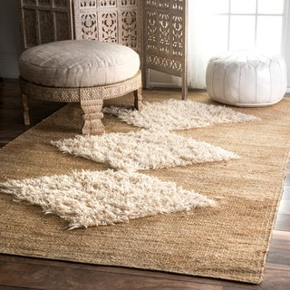The Curated Nomad Sinclair Bleached Handmade Jute/ Wool Diamond Area Rug