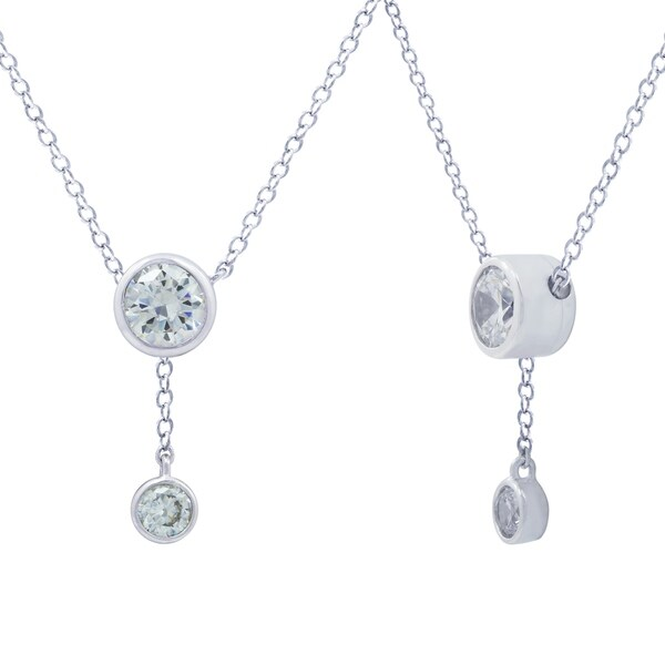 cab0f306cfe48 Platinum-Plated Sterling Silver Swarovski Zirconia Round Drop Y-Shape  Necklace