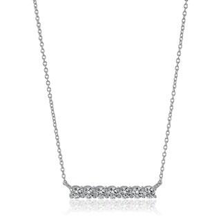 Platinum-Plated Sterling Silver Swarovski Zirconia Bar Pendant Necklace