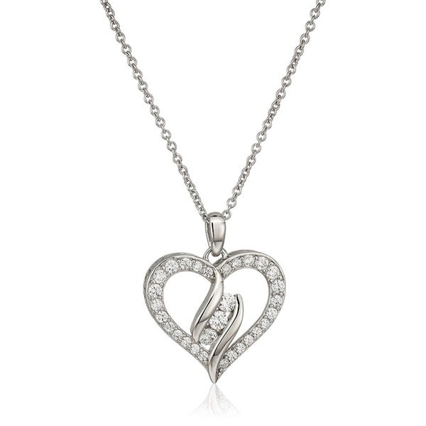 Platinum plated sterling silver swarovski zirconia open heart with 3 platinum plated sterling silver swarovski zirconia open heart with 3 stone pendant necklace aloadofball Gallery