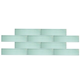 "3"" x 12"" Glass Subway Tile in Handpainted Spring Blue"