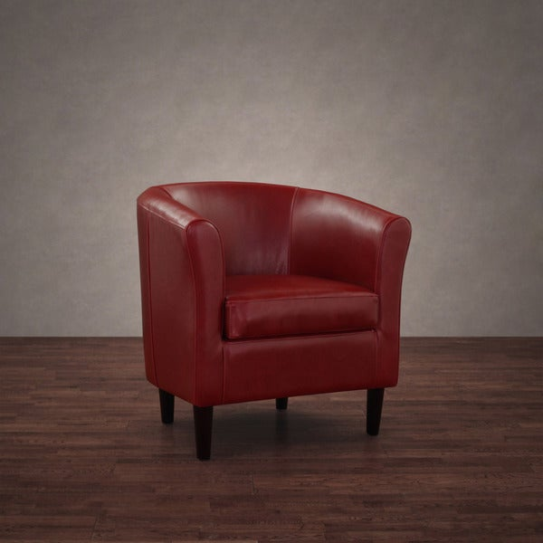 Shop Tovano Burnt Red Leather Arm Chair Free Shipping