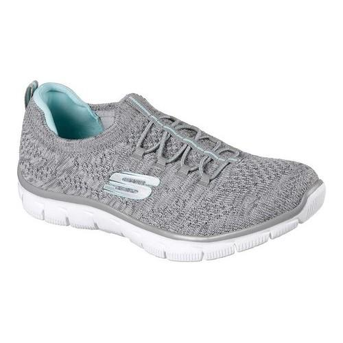 92d49bbba2b4 Shop Women s Skechers Empire Sharp Thinking Slip-On Sneaker Gray Light Blue  - Free Shipping Today - Overstock - 19114089