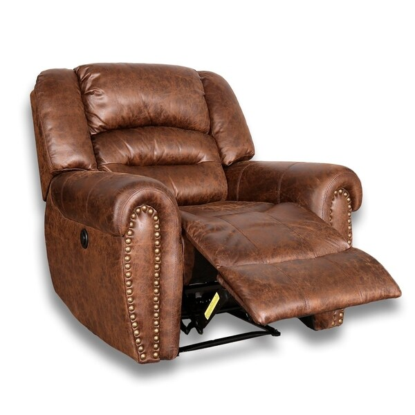 Shop Bonzy Power Recliner Chair Worned Leather Look Micro