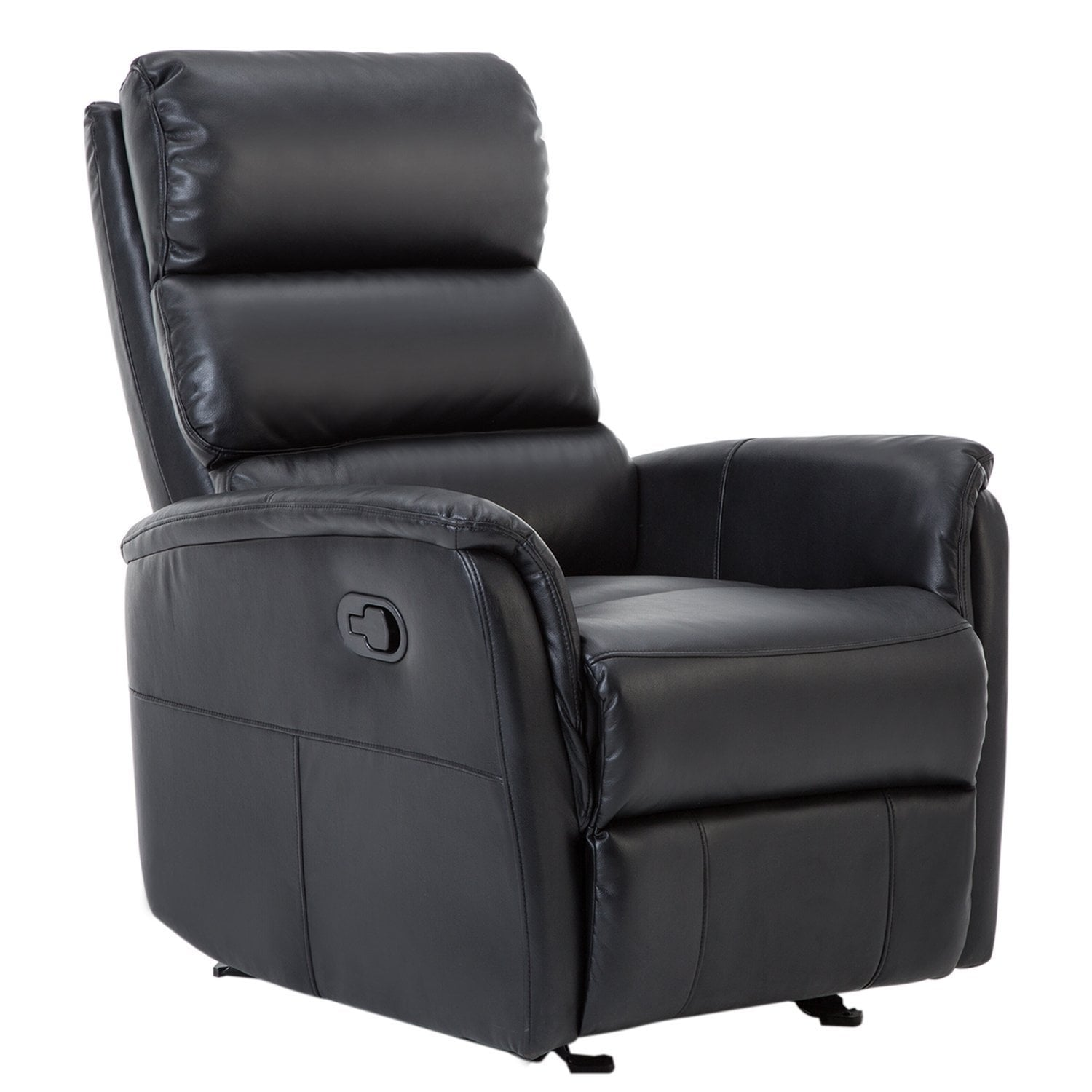 BONZY Glider Recliner Chair Leather Chair with Super Comfy Gliding Track - Black