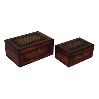 Cheung's Set of 2 Flat Top Wooden Keepsake Box with Woven Inlay and Latch Hook