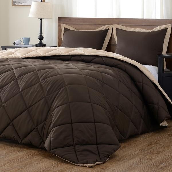 3 Piece Reversible Down Alternative Comforter Set Comforter with Shams