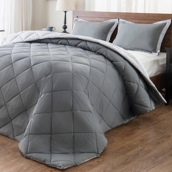 Queen downluxe Lightweight Solid Comforter Set 3-Piece S with 2 Pillow Shams