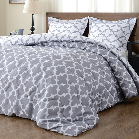 Downluxe 3-Piece Lightweight Reversible Down Alternative Comforter Set