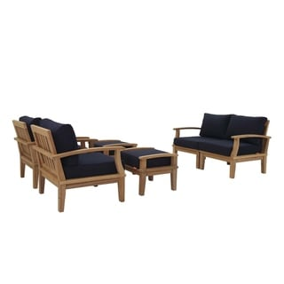 Pier 6 Piece Outdoor Patio Teak Set (natural navy)