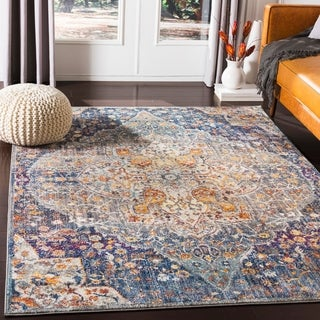 """Miron Traditional Navy Area Rug - 7'10"""" x 10'3"""""""