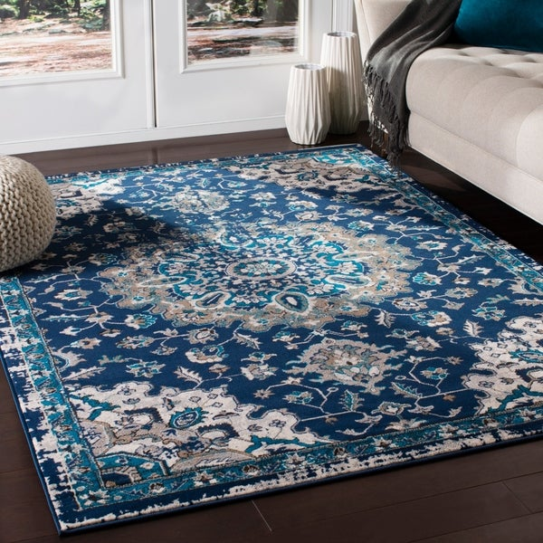 Ruba Traditional Medallion Navy Area Rug - 7'10 x 10'3
