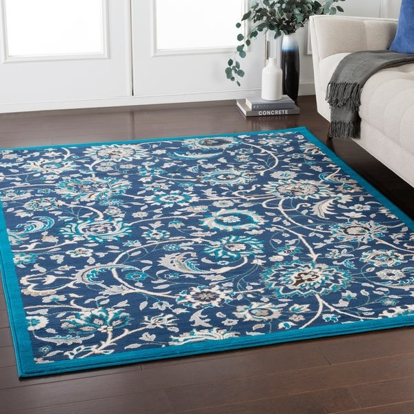 """Orrell Traditional Floral Navy Area Rug - 7'10"""" x 10'3"""""""