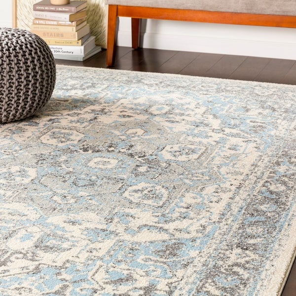 Arienne Traditional Pale Blue Area Rug 7 X27 10