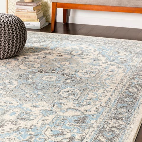"""Arienne Traditional Pale Blue Area Rug - 7'10"""" x 10'3"""""""
