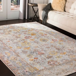 Amilia Distressed Traditional Grey Area Rug - 9' x 13'1""