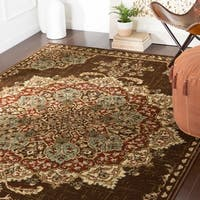"Aoede Traditional Dark Brown Area Rug - 8'10"" x 12'2"""