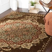 "Aoede Traditional Dark Brown Area Rug - 7'9"" x 11'2"""