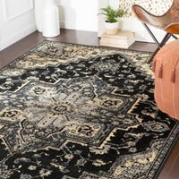 "Demetria Traditional Black Area Rug - 8'10"" x 12'2"""