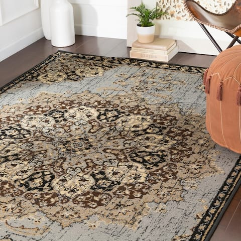 """Aoede Traditional Brown/Grey Area Rug - 7'9"""" x 11'2"""""""