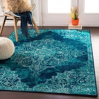"Terenzio Traditional Teal Area Rug - 8'10"" x 12'9"""