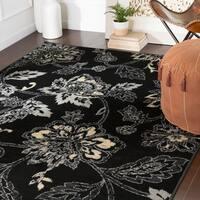 Micaela Floral Black Area Rug - 6'7 x 9'6