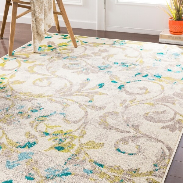 "Pavelu Transitional Lime/ Teal Area Rug - 7'9"" x 11'2"""