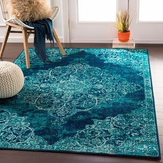 "Terenzio Traditional Teal Area Rug - 6'7"" x 9'6"""