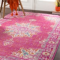 Sheridan Traditional Fuchsia Area Rug - 6'7 x 9'6