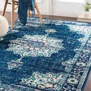 Sheridan Traditional Navy Area Rug - 7'9 x 11'2