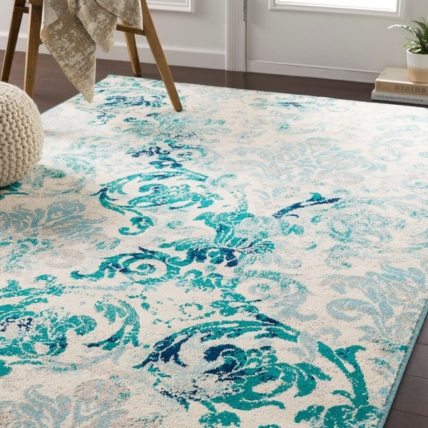 Shop Arturas Teal Damask Area Rug