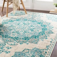 Aoede Traditional Teal/ Ivory Area Rug - 6'7 x 9'6