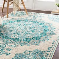 Aoede Traditional Teal/ Ivory Area Rug - 7'9 x 11'2