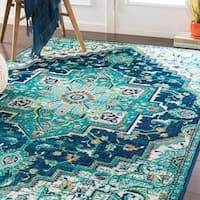 Padma Traditional Teal Area Rug - 7'9 x 11'2