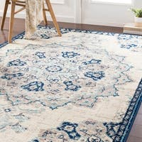 Aoede Traditional Navy Area Rug - 6'7 x 9'6