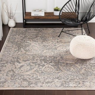 "Tashi Updated Traditional Charcoal & Cream Area Rug - 6'7"" x 9'6"""