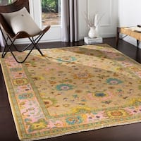 Booker Hand Knotted Pink & Sand Traditional Wool Area Rug - 8' X 11'