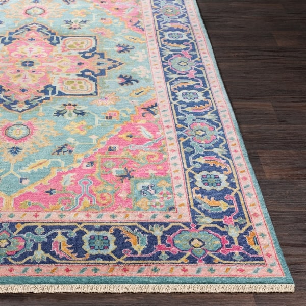 Celandine Hand Knotted Pink Blue Traditional Wool Area Rug 8 X 11 On Sale Overstock 22402338